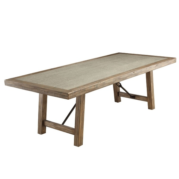 Strick & Bolton Mirella Weathered Elm 92-inch Stone-top Dining Table. Opens flyout.