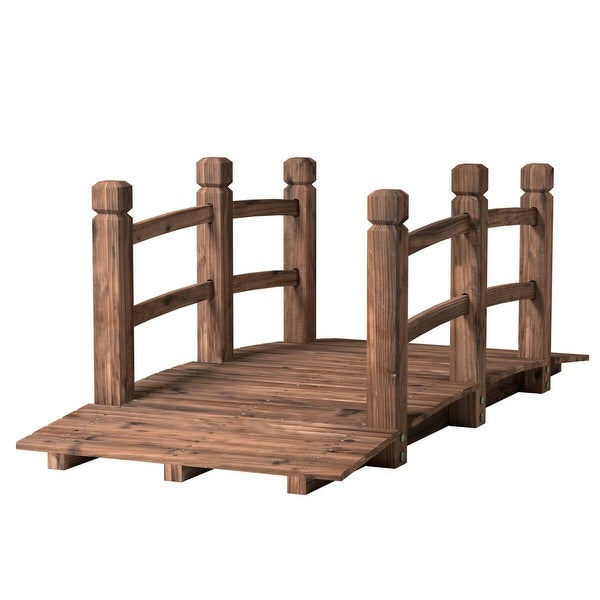 Costway 5' Wooden Bridge Stained Finish Decorative Solid Wood Garden