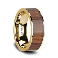 AURELIAN 14K Flat Pipe Cut Yellow Gold Ring Wedding Band with Rare Koa Wood Inlay and Polished Edges - 8mm