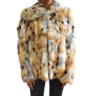 Gucci Fox Fur Tan & Multicolor Coat With Tags Size 40 US 4