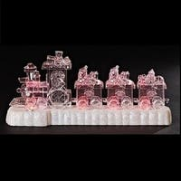 "11.5"" Clear Pre-Lit Musical Battery Operated Train Christmas Table Top Decoration"