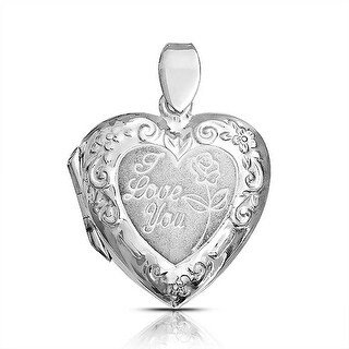 Bling Jewelry I Love You Engraved Rose Heart Locket Pendant .925 Silver