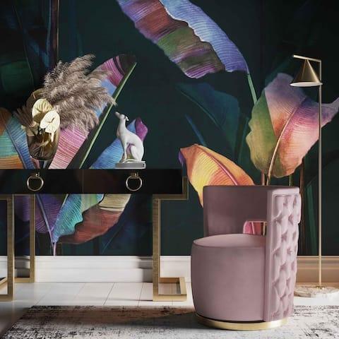 Silver Orchid Manucharyan Blush Velvet Swivel Chair