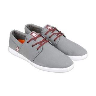 DC Haven Mens Grey Textile Lace Up Sneakers Shoes