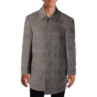 Lauren Ralph Lauren Mens Wool Blend Plaid Coat