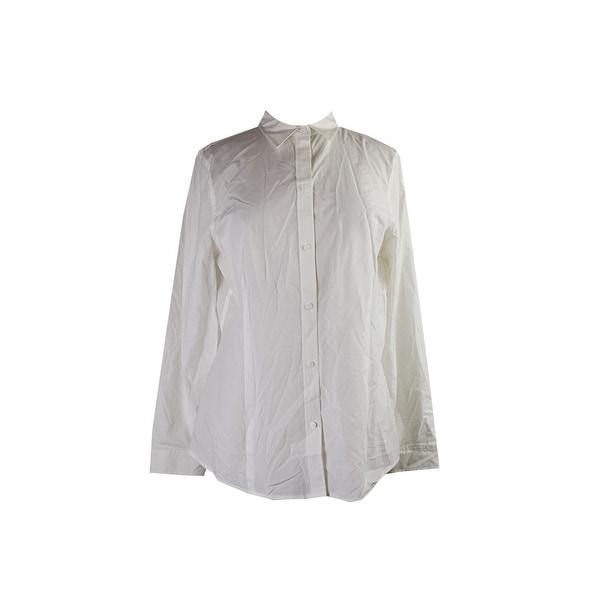 25a1adace Shop Anne Klein White Long-Sleeve Button-Down Shirt 14 - Free ...