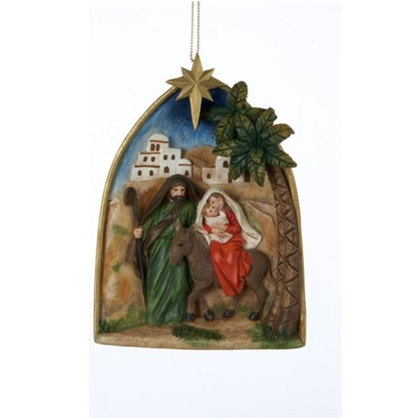 "4.25"" Holy Family Mary, Joseph and Jesus Religious Hanging Christmas Ornament - green"