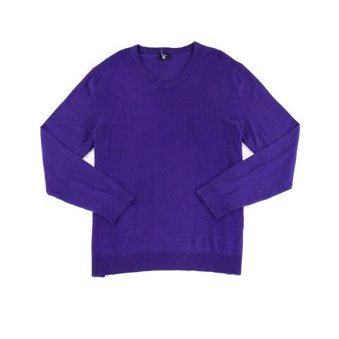 Alfani Mens Sweaters Pure Purple Size Large L Pullover Ribbed V-Neck