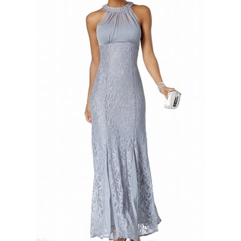 Nightway Gray Women's Size 8P Petite Lace Shimmer Gown Dress