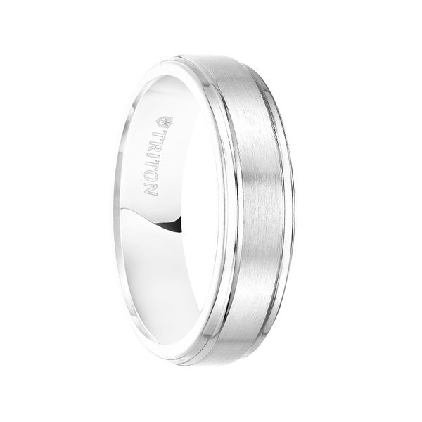 ELTON Raised Brush Finished Center White Tungsten Carbide Bright Polished Step Edges by Triton Rings - 6 mm