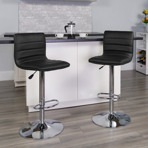 """Modern Vinyl Adjustable Height Barstool with Horizontal Stitch Back - 16""""W x 19""""D x 35"""" - 44""""H. Opens flyout."""