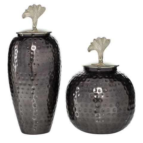 """Round Dark Aluminum Hammered Jars With Silver Petal Handle And Lid Set Of 2 13"""" 17"""" - 8 x 8 x 17"""