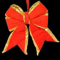 """Christmas at Winterland WL-BOW-12-RE/GO 12"""" Red with Gold Trim Bow - Red/Gold - N/A"""