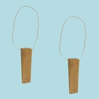 2 Door Wedge Solid Mango Wood Leather Hanging Loop Natural