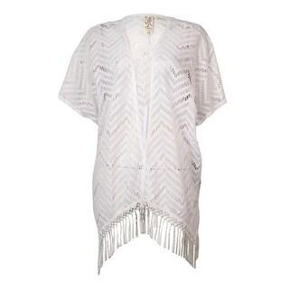 Miken Women's Lace-Fringe Trim Kimono Swimsuit Cover-Up
