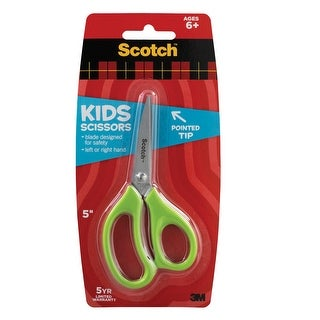 Scotch Precision Tip Kids Scissor, 5 in, Stainless Steel Blade, Assorted Colorss