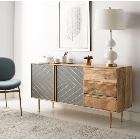 """Safavieh Couture Safavieh Couture Titan Gold Inlayed Cement Sideboard - Natural / Brass - 57.8"""" x 16.1"""" x 29.5"""""""