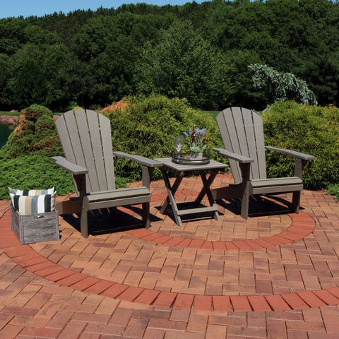 Sunnydaze All-Weather Adirondack Chair Set of 2 with Side Table - Gray