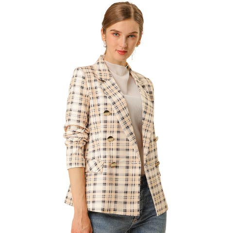 Women's Double Breasted Plaid Outwear Blazer Notched Lapel Checks Jacket with Pockets - Pink Apricot
