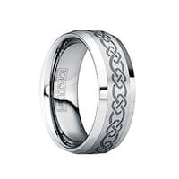 HERMINIUS Brushed & Polished Tungsten Wedding Ring with Engraved Celtic Pattern by Crown Ring - 6mm