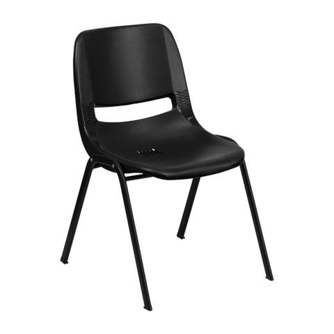 """Offex HERCULES Series 440 lb Capacity Black Ergonomic Shell Stack Chair with Black Frame and 14"""" Seat Height"""