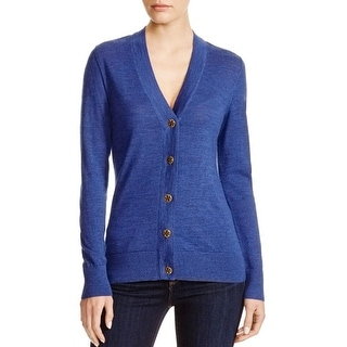 Tory Burch Womens Simone Cardigan Sweater Merino Wool Ribbed Trim