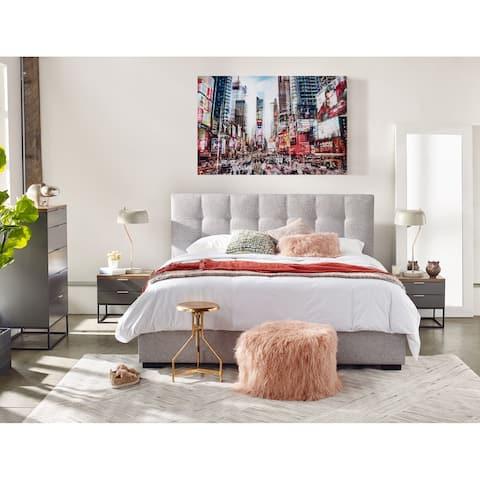 Aurelle Home Modern Light Grey Upholstered Storage Bed
