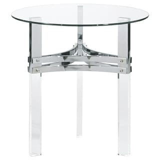 Braddoni Round End Table Chrome Finish Round End Table