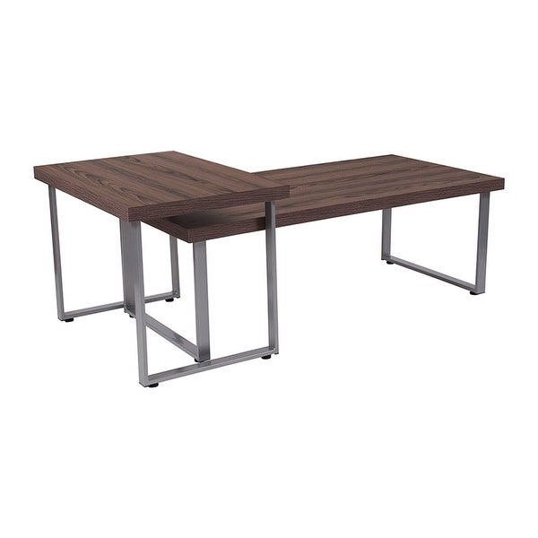 Coffee Table Silver Legs: Shop Offex Roslindale Contemporary Rustic Wood Grain