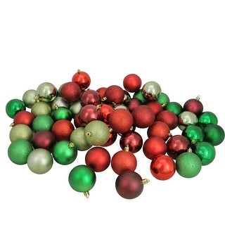 """Link to 60ct Red and Green Shatterproof 3-Finish Christmas Ball Ornaments 2.5"""" (60mm) Similar Items in Christmas Decorations"""