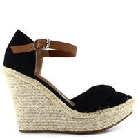 Ceresnia Adult Black Ankle Strap Closure Wedge Trendy Sandals