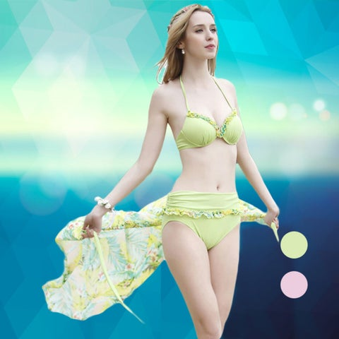 Halter Bikini Smock Swimsuit Push Up Summer Fashion Style 3 Pieces set Swimwear Female Fashion Style Cover Up High Waist Floral