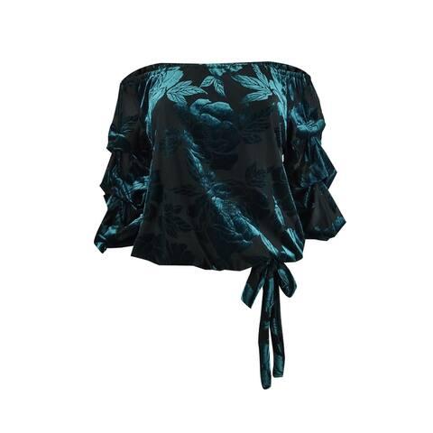 MSK Women's Petite Burnout-Velvet Top