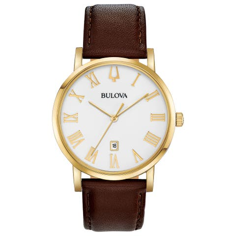 Bulova Men's 97B183 Goldtone Roman Accent Dial Brown Leather Strap Watch