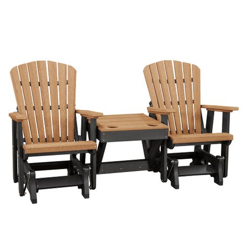OS Home and Office Model 515CBK-K Double Glider with Center Table in Cedar with a Black Base