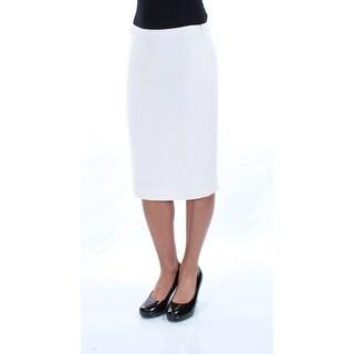 ST JOHN Womens New 8403 Ivory Textured Knee Length Pencil Casual Skirt 2XS B+B