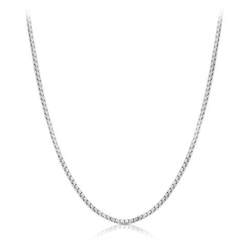 10k Solid White Gold Classic Box Chain Necklace 0.6mm