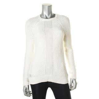 Lauren Ralph Lauren Womens Pullover Sweater Open Stitch Ribbed Trim