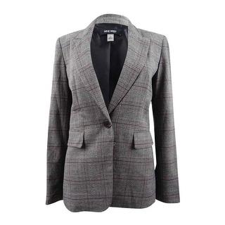 Link to Nine West Women's One-Button Plaid Jacket - Black/Porto Multi Similar Items in Suits & Suit Separates