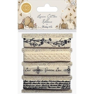 Tell The Bees Cotton Linen Ribbon for 1m Each & 4 Designs - 4 per