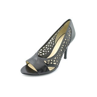 Tahari Liquorice Women Open-Toe Leather Black Heels