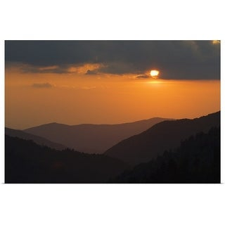 """""""Sun setting behind clouds, silhouetted mountains, Great Smoky Mountains National Park, Tennessee"""" Poster Print"""