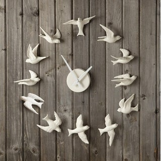 "10.25"" Elegant White Porcelain Bisque Textured Bird Wall Clock"