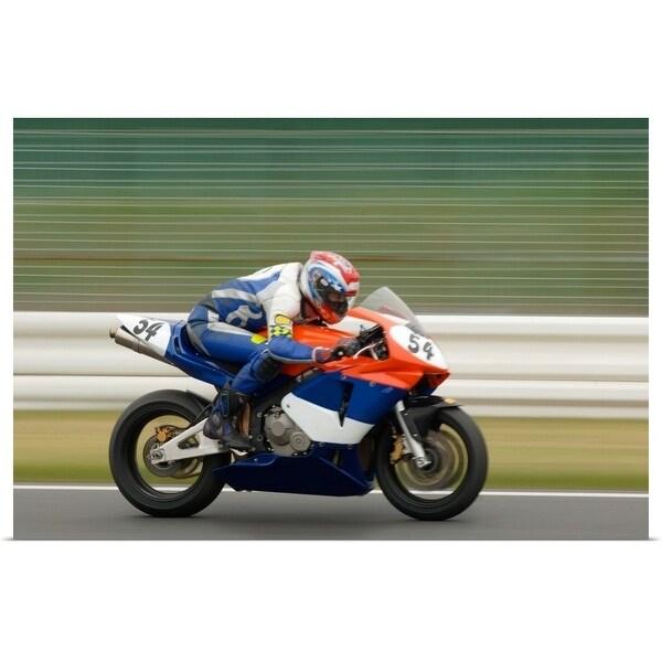 """Racing motor bike on the straight"" Poster Print"