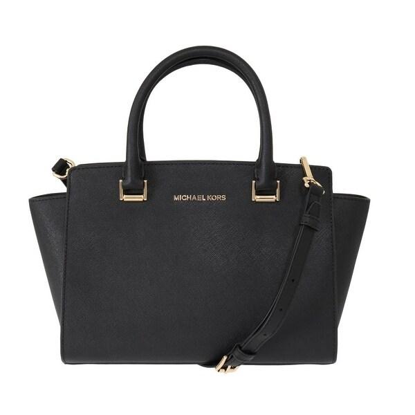 Shop Michael Kors Black SELMA Leather Satchel Women's Bag
