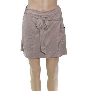 HYFVE Women's Shorts Oatmeal Beige Size Large L Faux Suede Skorts
