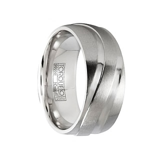 Men's Cobalt Wedding Ring Brushed Finish Polished Grooved Textured Design by Crown Ring - 9mm