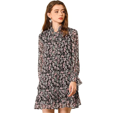 Allegra K Women's Ruffle Tie Neck Loose Shift Floral Dress