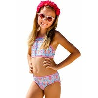 Sun Emporium Little Girls Pink Summer Daze Print Halter Top Bikini Set