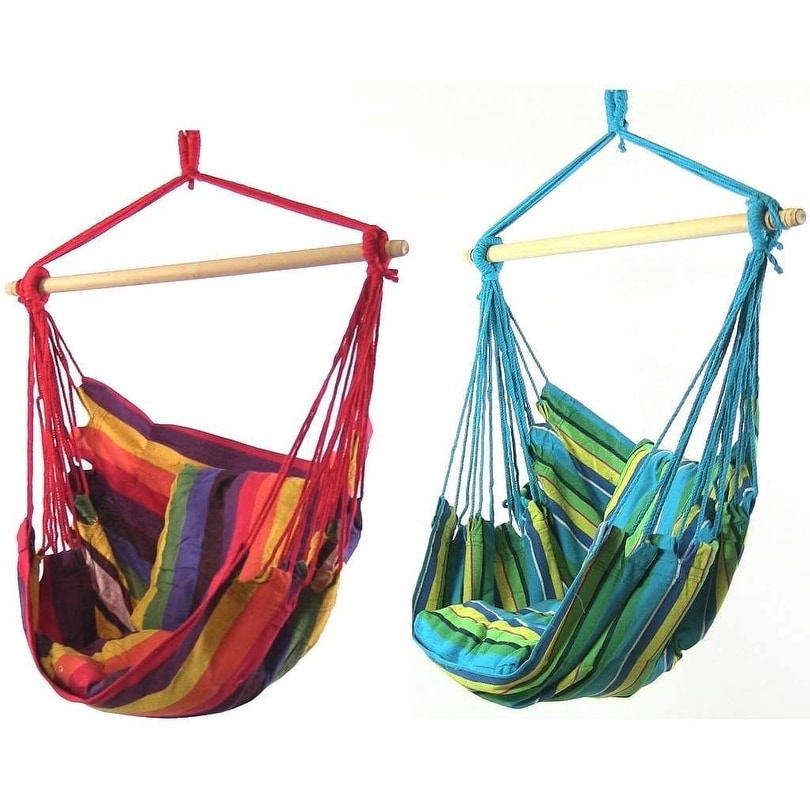 Sunnydaze Hanging Hammock Swing with Two Cushions - Set of 2 - Options Available - Thumbnail 20